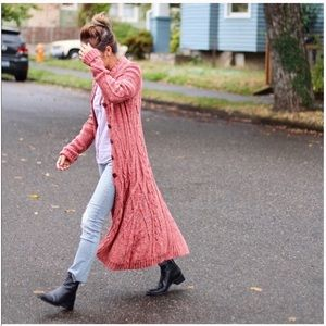 Anthro far away coil cable knit sweater duster L